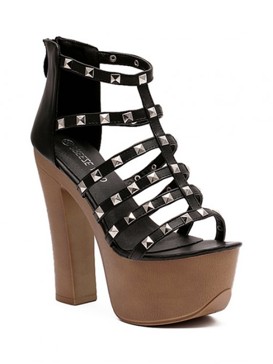 shops Rivet Platform Chunky Heel Sandals - BLACK 38