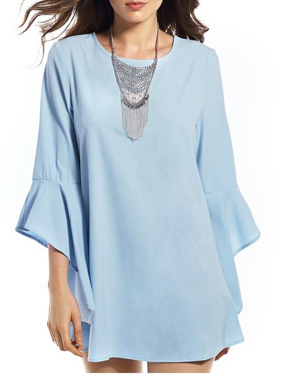 sale Flounce Round Neck Solid Color Dress - BLUE S