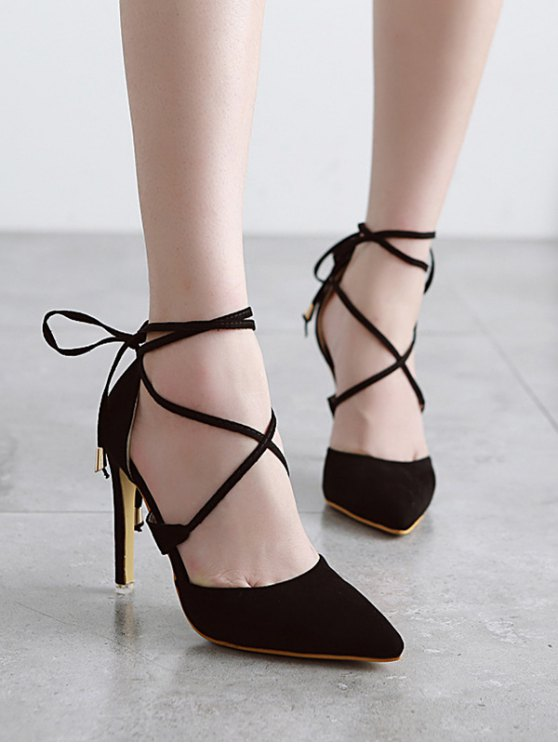 Pointed Toe Black Lace-Up Sandals - BLACK 37 Mobile
