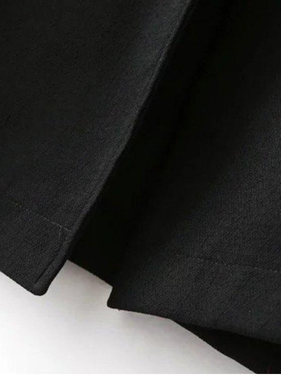 Side Slit Lapel Collar Solid Color Long Coat - BLACK L Mobile
