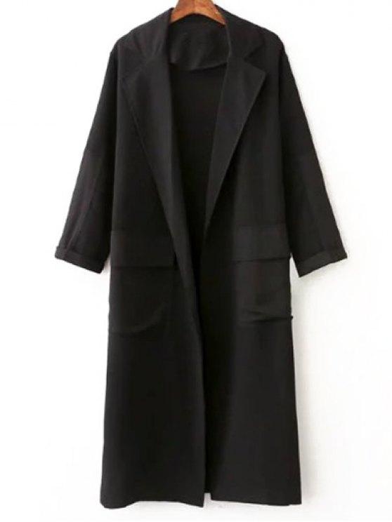 Side Slit col à revers Solide Couleur Manteau long - Noir L
