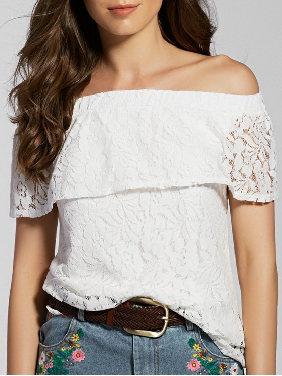 Lace Full Off The Shoulder Flounce Blouse - Blanc S