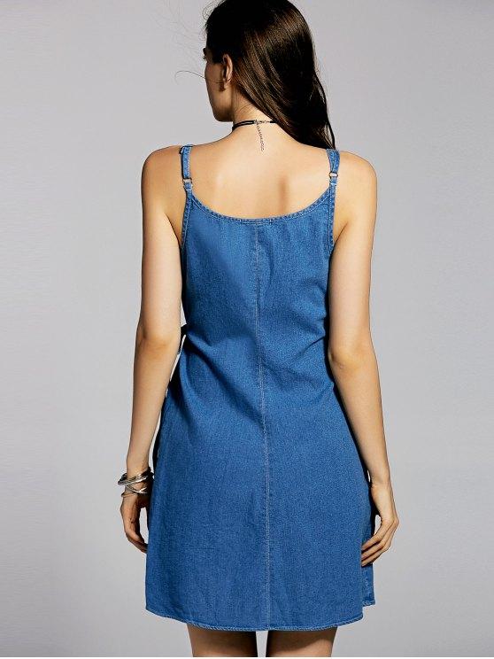 Blue Cami A Line Denim Dress - BLUE M Mobile