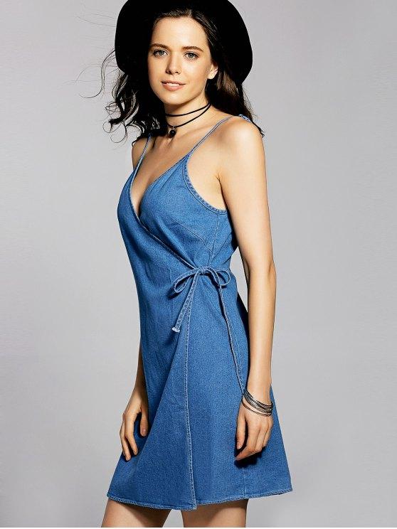 Blue Cami A Line Denim Dress - BLUE L Mobile