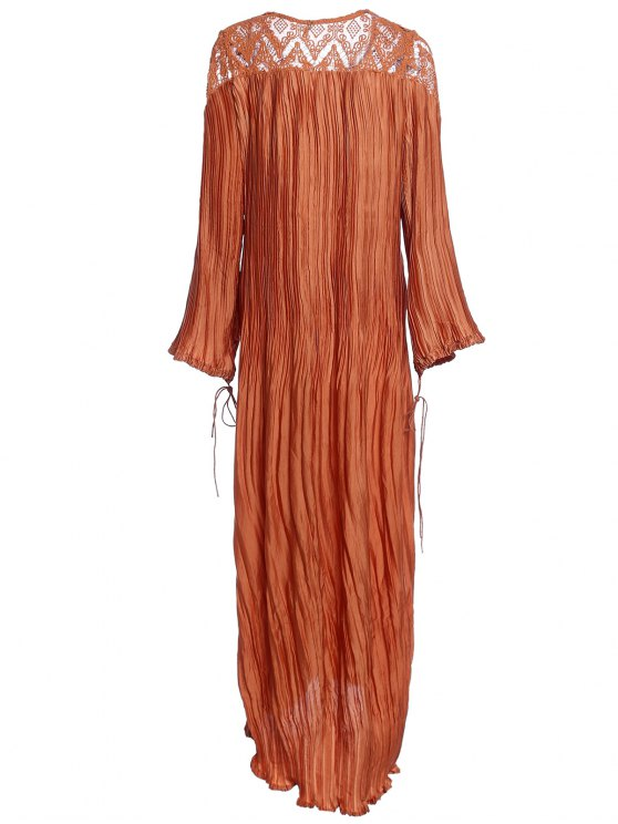 Sateen Puff Sleeve See-Through Maxi Dress - DARKSALMON L Mobile