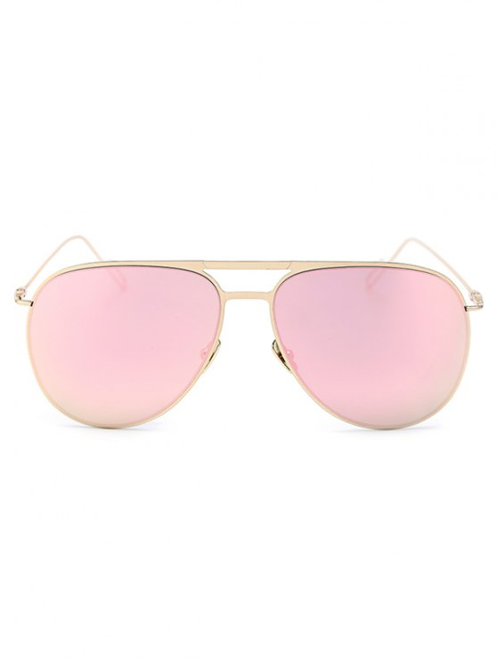 Golden Mirrored Pilot Sunglasses - PINK  Mobile