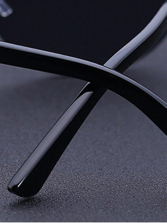 Plaid Mesh Black Shield Sunglasses - BLACK  Mobile