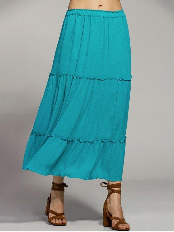 Solid Color Elastic Waist High Waist A-Line Skirt - LAKE BLUE M Mobile