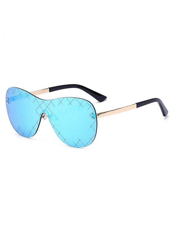 shops Plaid Mesh Mirrored Shield Sunglasses - ICE BLUE