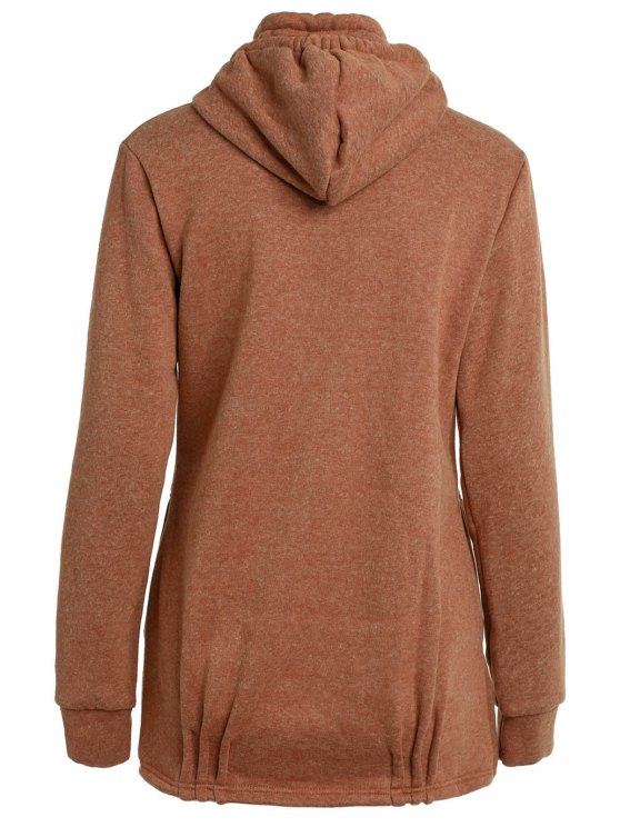 Solid Color Long Sleeve Loose Pullover Hoodie - BROWN XL Mobile