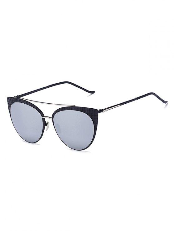 affordable Plaid Black Mirrored Cat Eye Sunglasses - SILVER