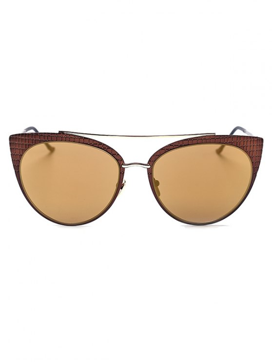 Plaid Mirrored Cat Eye Sunglasses - TYRANT GOLD  Mobile