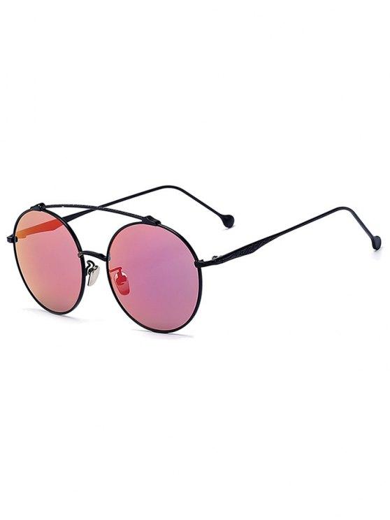 Frente-barra negra gafas de sol redondas - Negro
