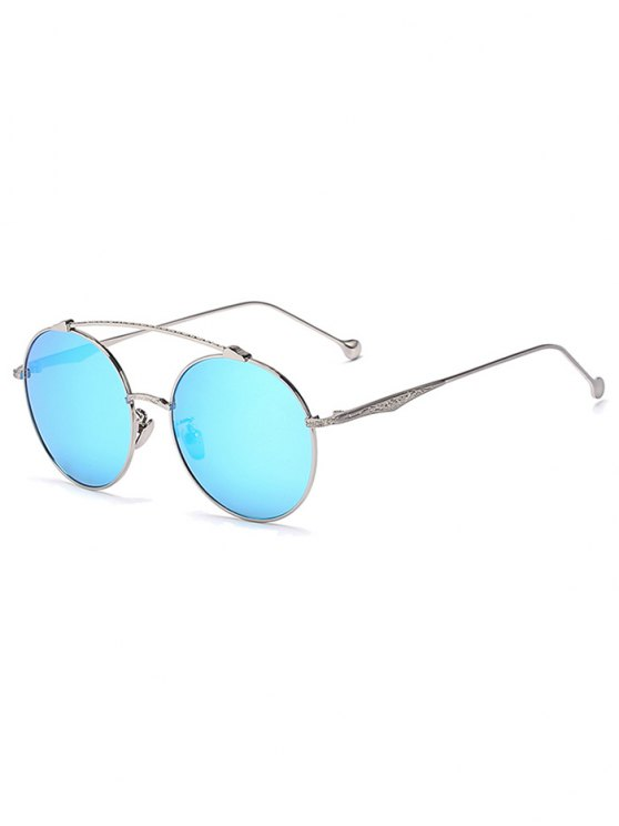 lady Brow-Bar Silver Round Sunglasses - ICE BLUE