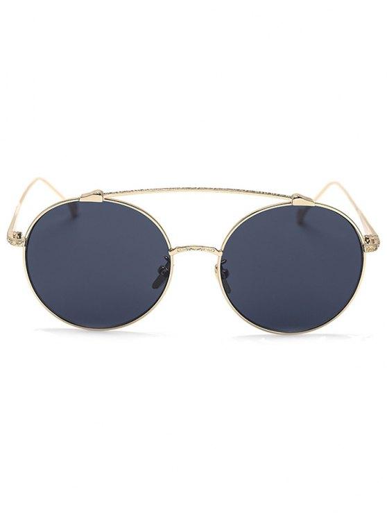 Brow-Bar Golden Round Sunglasses - BLACK  Mobile
