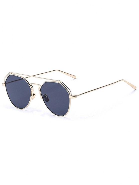 Oro Frente-Bar espejadas piloto gafas de sol - Negro