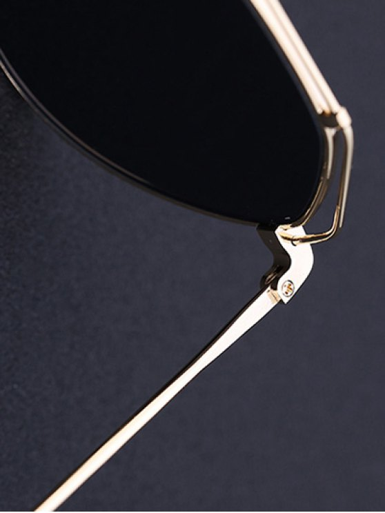 Golden Brow-Bar Mirrored Pilot Sunglasses - BLACK  Mobile
