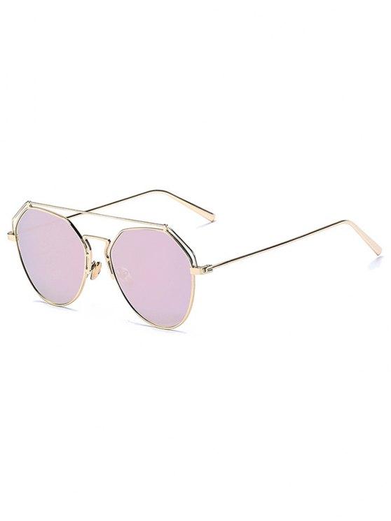 shop Golden Brow-Bar Mirrored Pilot Sunglasses - PINK