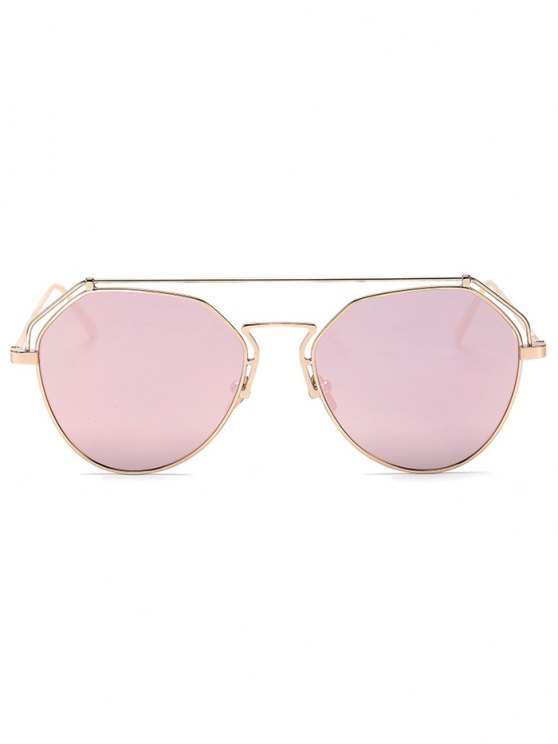 Golden Brow-Bar Mirrored Pilot Sunglasses - PINK  Mobile