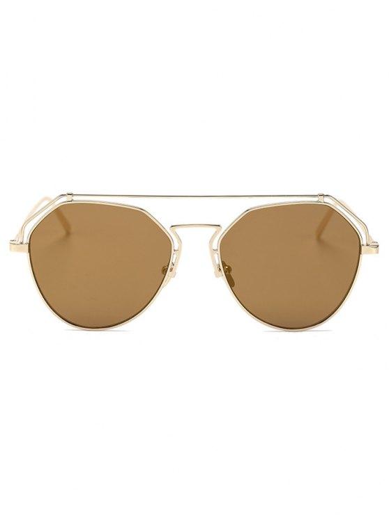 Golden Brow-Bar Mirrored Pilot Sunglasses - TYRANT GOLD  Mobile