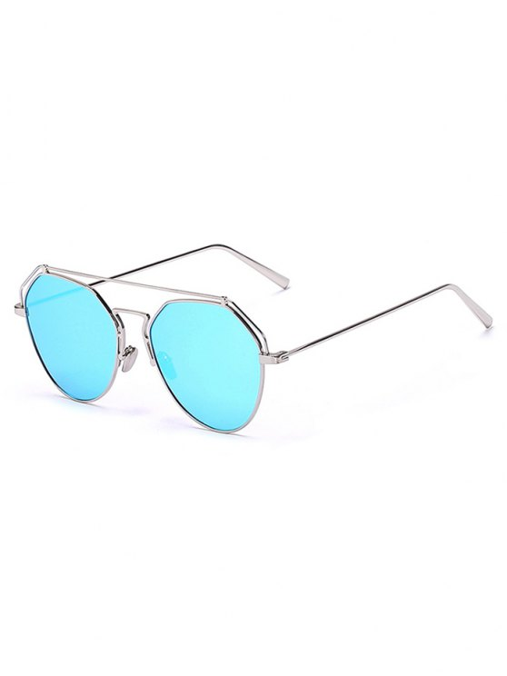 Silver Brow-Bar Mirrored Pilot Sunglasses - SILVER  Mobile