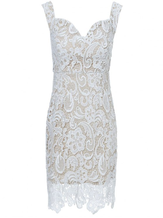 chic Off The Shoulder Lace Bodycon Dress - WHITE XL
