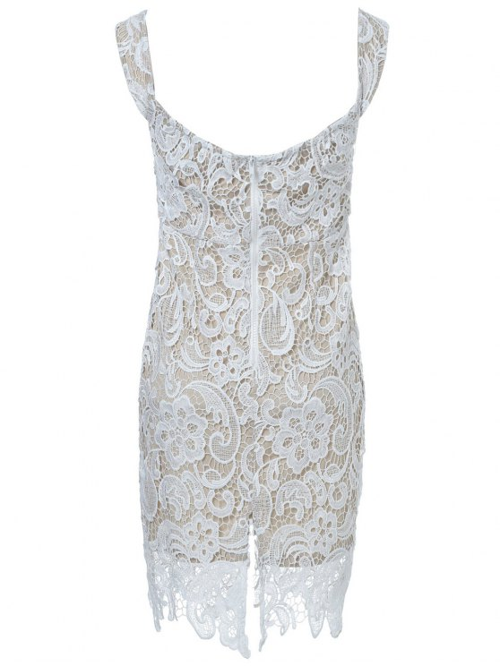 Off The Shoulder Lace Bodycon Dress - WHITE XL Mobile