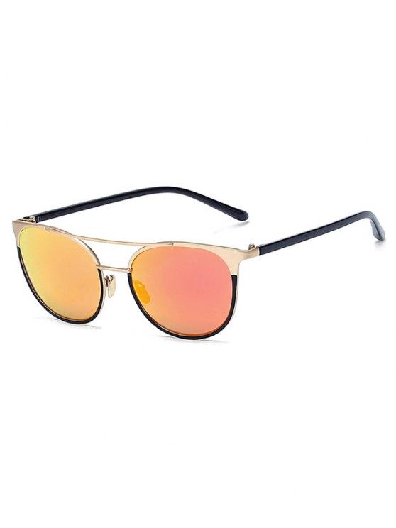 Gafas de sol de oro las barras transversales reflejadas ojo de gato - Rojo