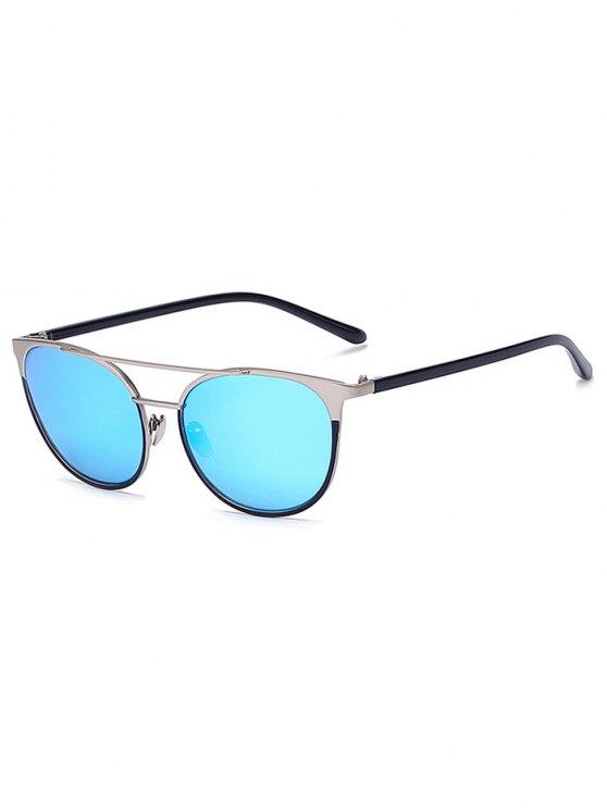 sale Silver Crossbar Mirrored Cat Eye Sunglasses - ICE BLUE