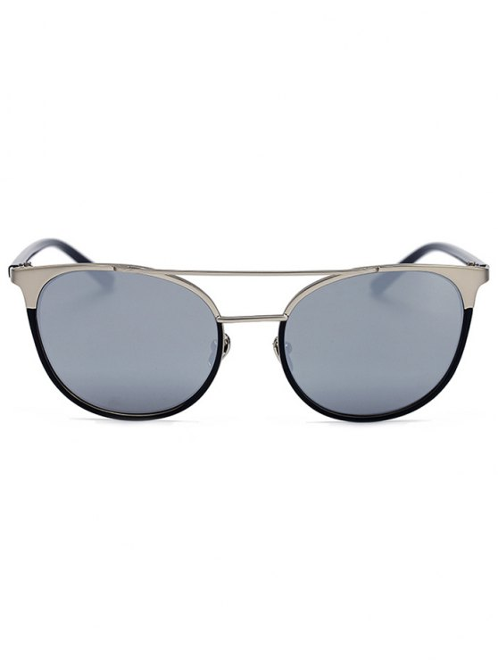 Silver Crossbar Mirrored Cat Eye Sunglasses - SILVER  Mobile