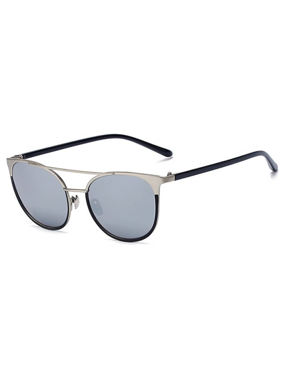 affordable Silver Crossbar Mirrored Cat Eye Sunglasses - SILVER