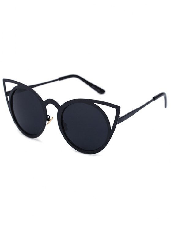 Cortar en negro Sexy Cat Eye Sunglasses - Negro