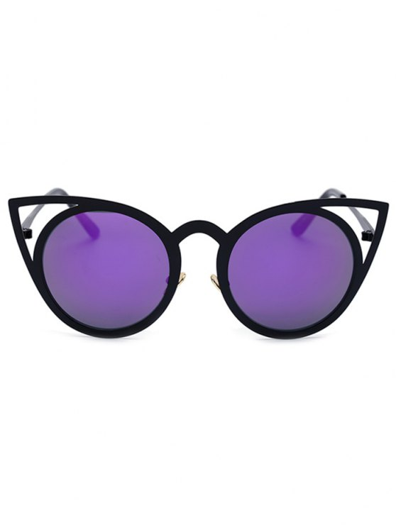Black Charming Cat Eye Mirrored Sunglasses - PURPLE  Mobile