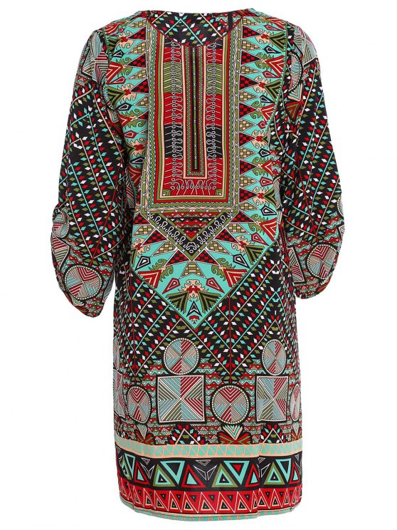 Ethnic Print Jewel Neck Half Sleeve Dress - GREEN M Mobile