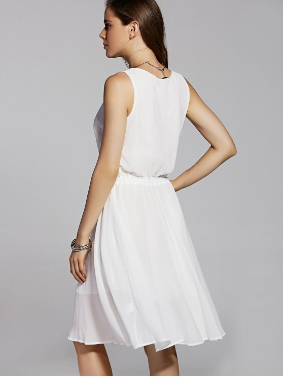 Round Neck Embroidery Sleeveless Dress - WHITE M Mobile