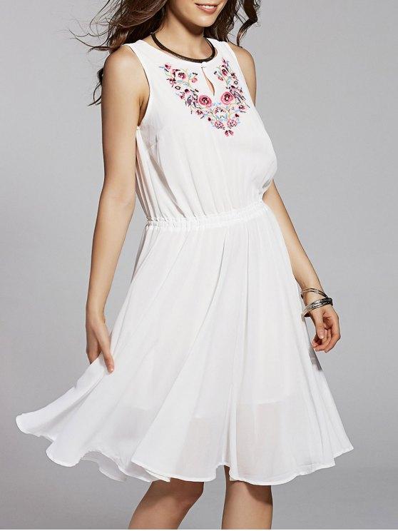 Cuello redondo vestido sin mangas bordado - Blanco L
