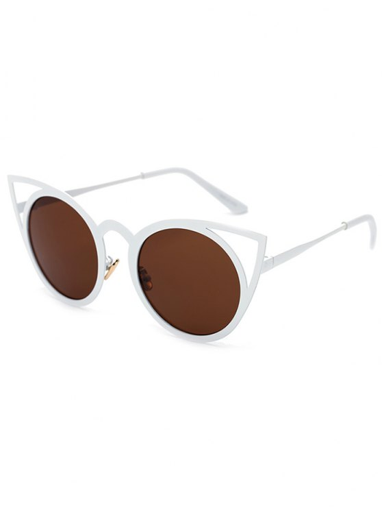lady Cut Out White Cat Eye Sunglasses - TEA-COLORED
