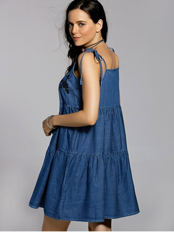 Bow Tie Shoulder Denim Slip Dress - BLUE S Mobile