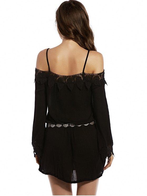 Cold Shoulder Lace Trim Dress - BLACK L Mobile