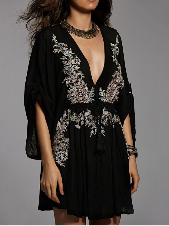 Embroidered Plunging Neck Flare Sleeve Dress - BLACK M Mobile