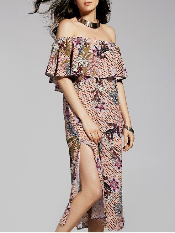 Flower Imprimer Off The Shoulder Flounce Dress - Multicolore S