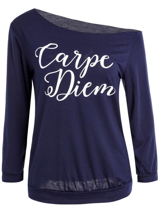 ladies Slash Neck Letter Print T-Shirt - PURPLISH BLUE S