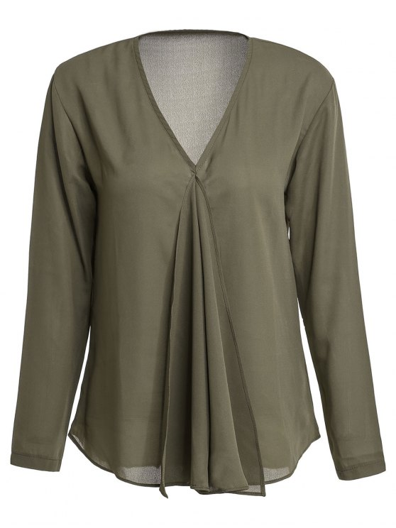 new Solid Color Pleated V-Neck Long Sleeve Blouse - ARMY GREEN L