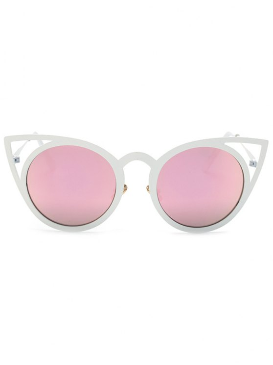 Cut Out White Cat Eye Mirrored Sunglasses - PINK  Mobile