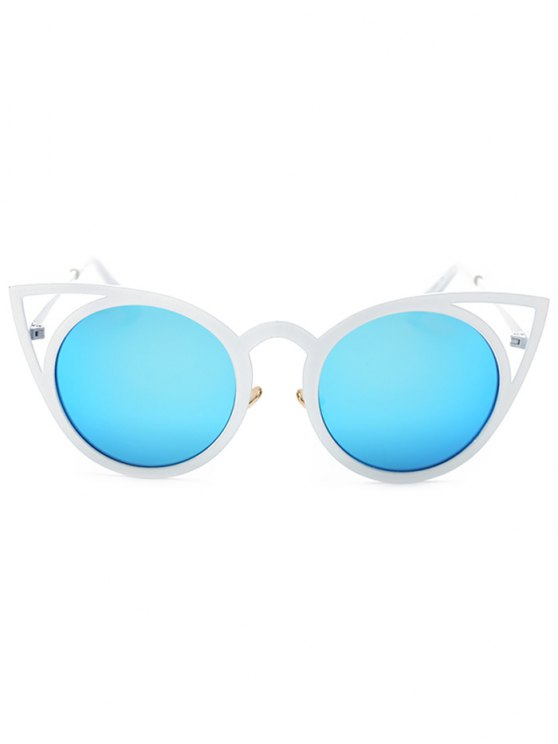 Cut Out White Cat Eye Mirrored Sunglasses - ICE BLUE  Mobile