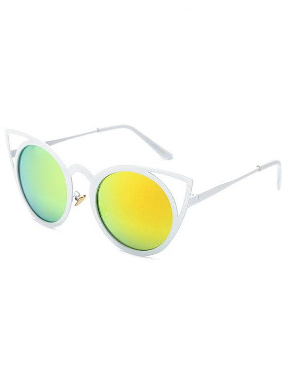 hot Cut Out White Cat Eye Mirrored Sunglasses - GOLDEN