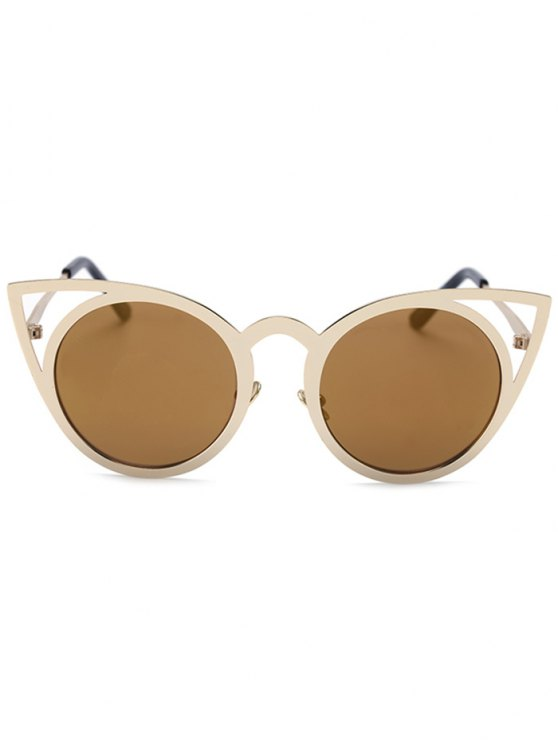 Cut Out Golden Cat Eye Sunglasses - TYRANT GOLD  Mobile