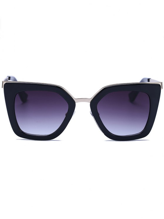 Matte Black Irregular Sunglasses - BLACK  Mobile