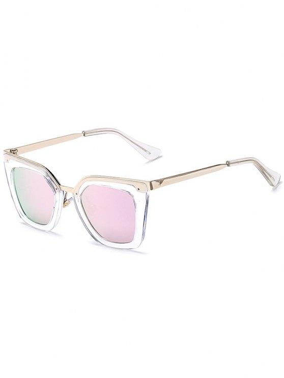 Gafas de sol de espejo transparente irregular - Rosa
