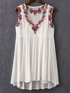 Cami Top And V-Neck Retro Embroidery Dress Twinset - White M